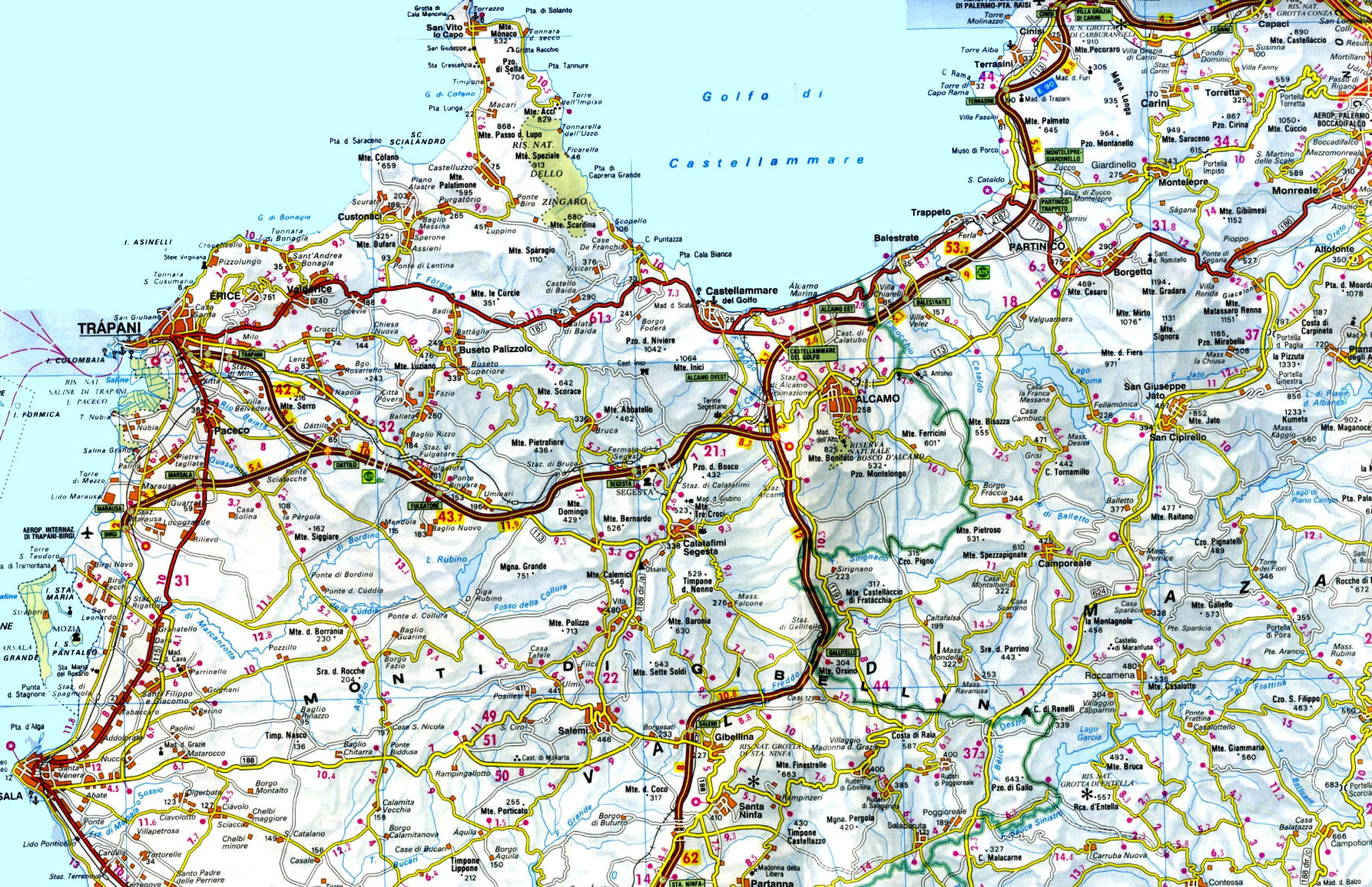 Cartina Fisica Sicilia Dettagliata.Sicilia In Moto Moto Sicilia Itinerari Sicilia Moto
