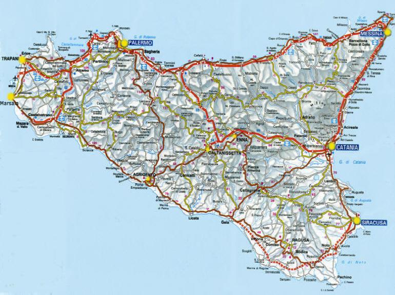 Cartina Strade Sicilia.Sicilia In Moto Moto Sicilia Itinerari Sicilia Moto